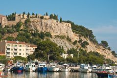Port and medieval castle Royalty Free Stock Image