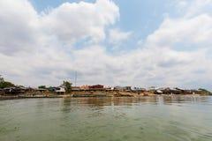 Port on Mekhong Don Det. Port on Don Det island in south Laos. Landscape of nature taken on four thousands islands Si Phan Don on Mekhong river in south east royalty free stock images