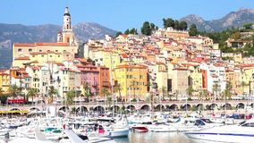 Port in Menton, France stock video