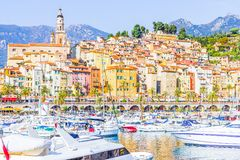 Port in Menton, France. Port in Menton, Cote dAzur, France Royalty Free Stock Photo