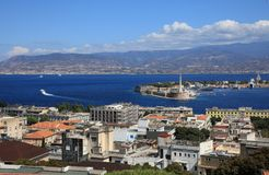 Port of Messina. With the gold Madonna della Lettera statue. Sicily. Italy Stock Photos