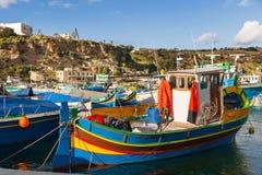 Port Mgarr na małej wyspie Gozo, Malta Fotografia Stock