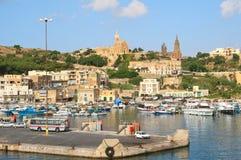 Port Mgarr na małej wyspie Gozo, Malta obraz stock