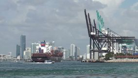 Port of Miami activity stock video footage