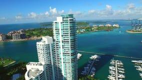 Port of Miami beautiful aerial video footage stock footage