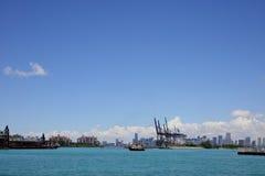 Port Miami and Downtown Miami Royalty Free Stock Photos