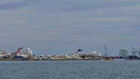 Port Miami far shot 4k stock footage