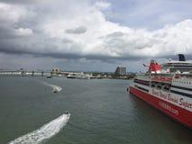 Port Miami, Miami Florida, USA. View of Biscayne Bay Stock Photography