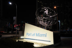 Port of Miami at night Royalty Free Stock Image