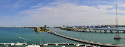 Port of Miami. Panoramic view of the Port of Miami from the hotel Royalty Free Stock Photo