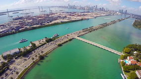 Port of Miami and Star Island stock footage