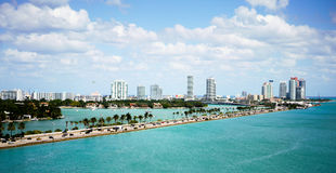 Port of Miami. View of Miami Beach and Biscayne Bay in Florida royalty free stock photos