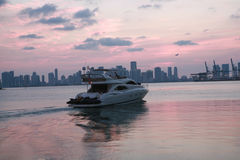 Port of Miami yacht. Port of miami sky line Stock Photography