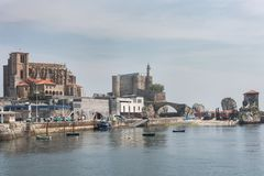 Port miasto Castro Urdiales Obraz Stock