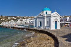 Port of Mikonos Town and church, island of Mykonos, Cyclades Islands Royalty Free Stock Photo