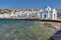 Port of Mikonos Town and church, island of Mykonos, Cyclades Islands Stock Image