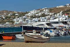 Port of Mikonos Town, island of Mykonos, Cyclades Islands Royalty Free Stock Images