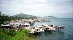 Port Moresby, Papua New Guinea. A maritime suburb of Port Moresby, PNG on Walter Bay. Downtown Moresby is in the background. Port Moresby is the capital & stock image