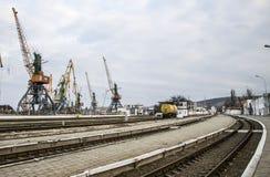 Port morski w Crimea, zima 2014 zdjęcie royalty free