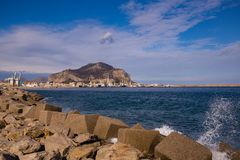 Palermo port with Mount Pellegrino and Utveggio Castle. The port with Mount Pellegrino and Utveggio Castle in the background, Palermo, Sicily, Italy Royalty Free Stock Image