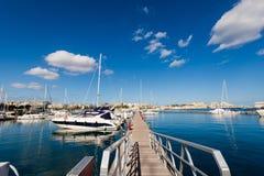 Port in Msida on Malta. Colorful touristic landscape of Port in Msida on Malta island. Beautiful seascape in south Europe Stock Images