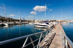 Port in Msida on Malta. Colorful touristic landscape of Port in Msida on Malta island. Beautiful seascape in south Europe Stock Photo