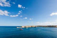 Port in Msida on Malta. Colorful touristic landscape of Port in Msida on Malta island. Beautiful seascape in south Europe Stock Photos