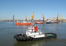 port na holowniku Obrazy Royalty Free
