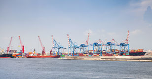 Port of Naples, cityscape with container cranes Royalty Free Stock Image