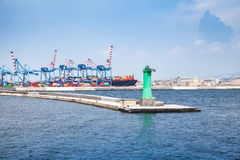Port of Naples, cityscape with container cranes Royalty Free Stock Photos