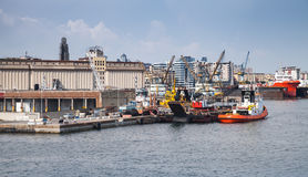 Port of Naples, cityscape with industrial ships Stock Photography
