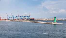 Port of Naples, container cranes and pier Stock Photos