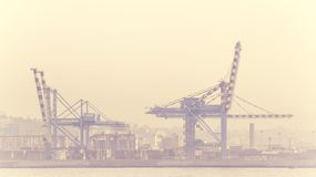 Port of Naples with crane and fog Royalty Free Stock Images