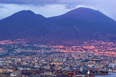 Port of Naples with Mount Vesuvius in the background Royalty Free Stock Photo