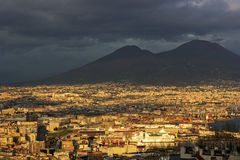 Port of Naples with Mount Vesuvius in the background Royalty Free Stock Image