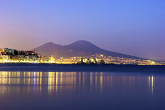 Port of Naples with Mount Vesuvius in the background Stock Photography