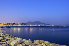 Port of Naples with Mount Vesuvius in the background Stock Photo