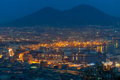 Port of Naples at night Stock Image