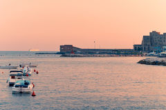 Port of Naples at sunset Royalty Free Stock Photos