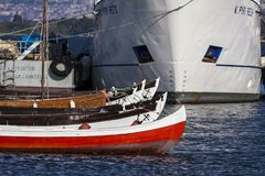 Little and big boats in the harbor of Narlidere Izmir - Turkey Royalty Free Stock Photography