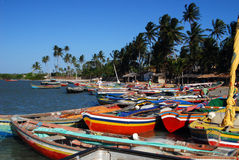 Port near Jericoacoara, Brasil. Fisher boats in port near Jericoacoara, Brasil royalty free stock photo