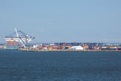Port of New York and New Jersey. A ship and containers in the Port of New York and New Jersey, the port district of the New York-Newark metropolitan area Stock Image