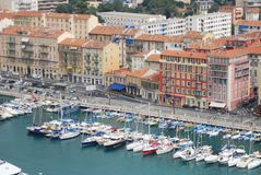 Port of Nice, marina, harbor, water transportation, port. Port of Nice is marina, port and city. That marvel has harbor, waterway and boat and that beauty royalty free stock photos