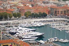 Port of Nice, marina, water transportation, harbor, dock. Port of Nice is marina, dock and boat. That marvel has water transportation, port and yacht and that stock photography
