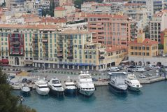 Port of Nice, marina, harbor, waterway, water transportation. Port of Nice is marina, water transportation and water. That marvel has harbor, city and port and royalty free stock images