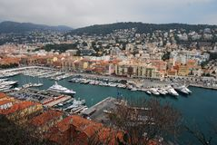 Port of Nice, marina, city, harbor, sky. Port of Nice is marina, sky and port. That marvel has city, urban area and aerial photography and that beauty contains stock photo