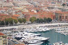 Port of Nice, marina, water transportation, harbor, port. Port of Nice is marina, port and tourism. That marvel has water transportation, city and boat and that royalty free stock photos