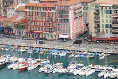 Port of Nice, marina, harbor, water transportation, port. Port of Nice is marina, port and watercraft. That marvel has harbor, boat and water and that beauty royalty free stock photo