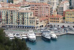 Port of Nice, marina, waterway, harbor, water transportation. Port of Nice is marina, water transportation and water. That marvel has waterway, city and port and stock photo