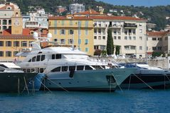 Port of Nice, passenger ship, marina, waterway, boat. Port of Nice is passenger ship, boat and yacht. That marvel has marina, luxury yacht and motor ship and stock photos
